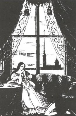"""An illustration from A. Pushkin's """"Eugene Onegin"""", 1936 - Mstislav Dobuzhinsky"""