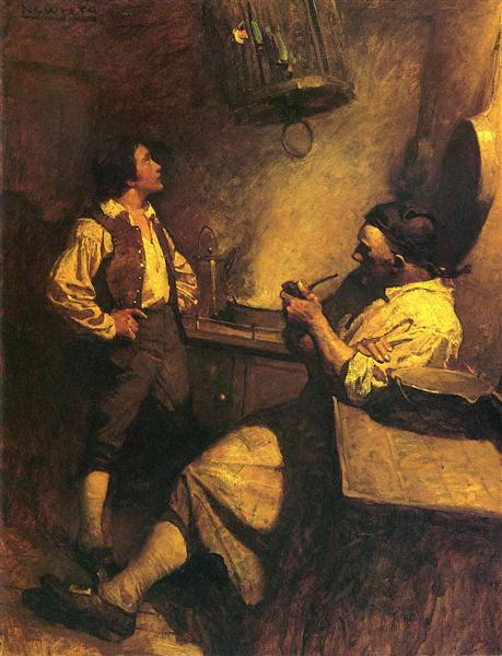 Jim Hawkins, Long John Silver and his Parrot - N.C. Wyeth