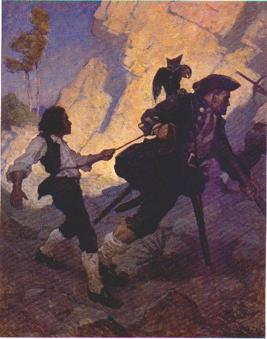 Jim long john silver and his parrot n c wyeth for What kind of fish does long john silver s use