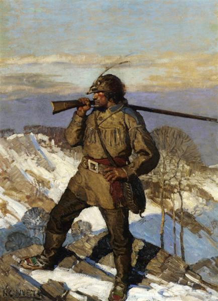 The Frontiersman Pupular Magazine cover Illustration, c.1911 - N.C. Wyeth