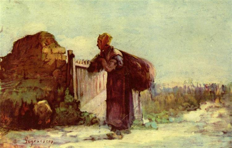 French peasant woman with a bag on her back - Nicolae Grigorescu