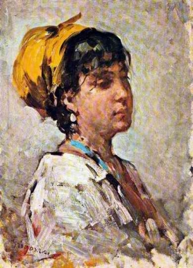 Girl With Yellow Headscarf - Nicolae Grigorescu