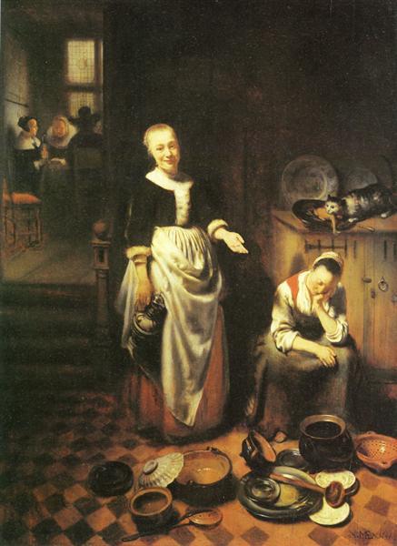 The idle servant, 1655 - Nicolaes Maes