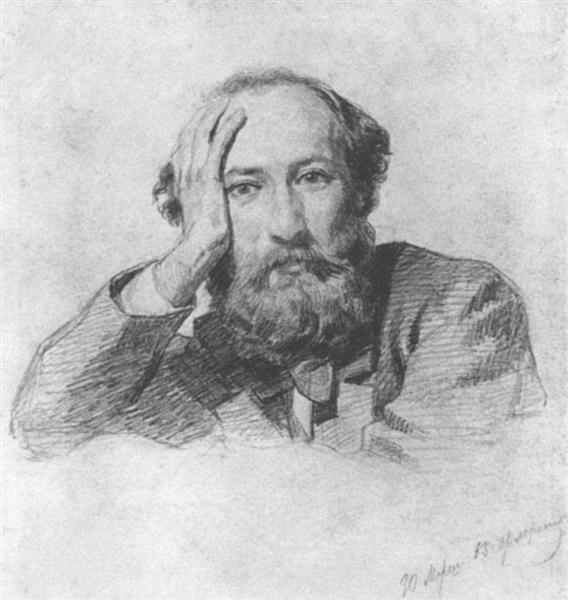 Portrait of Russian baritone opera singer Gennady Kondratiev, 1863 - Nikolai Ge