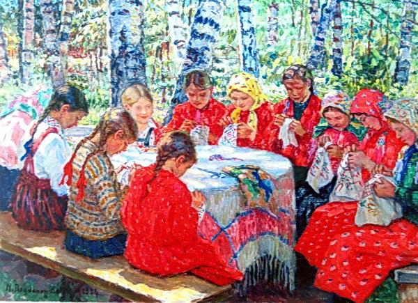 Needlework Classes in a Russian Village, 1936 - Nikolay Bogdanov-Belsky
