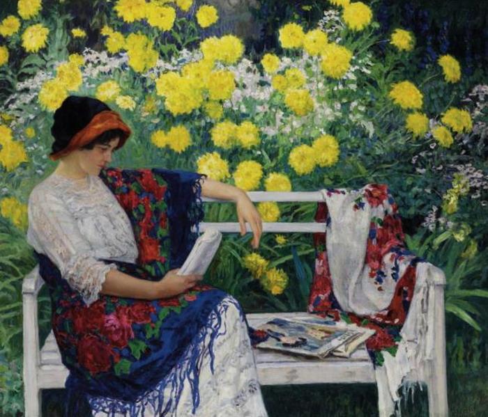Reading in the garden, 1915 - Nikolay Bogdanov-Belsky
