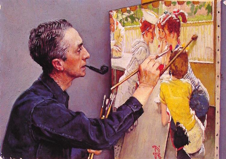 Portrait of Norman Rockwell Painting the Soda Jerk, 1953 - Norman Rockwell