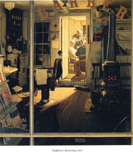 Shuffleton's Barbershop, 1950 - Norman Rockwell