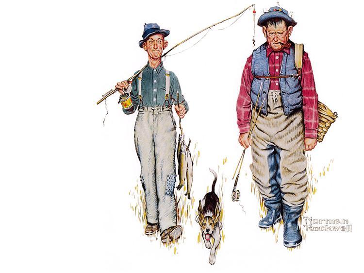 Two Old Men and Dog - 諾曼‧洛克威爾