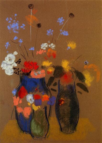 Three Vases Of Flowers C1909 Odilon Redon Wikiart