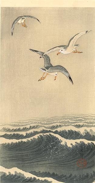 Seagulls over the Waves, c.1915 - Ohara Koson