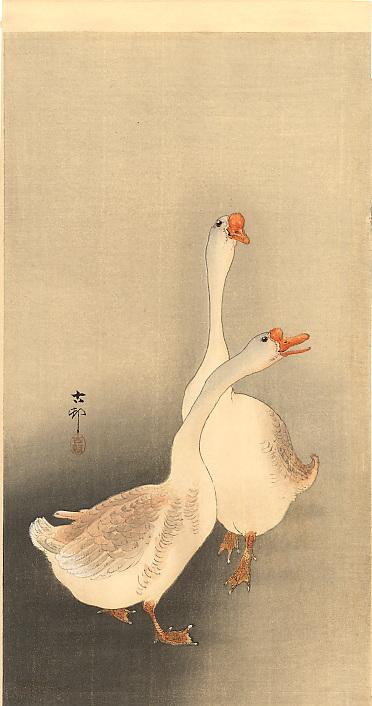 Two White Geese Ohara Koson Wikiart Org