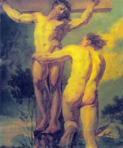 Crucifixion. Etude of two sitters, 1800 - Orest Kiprensky