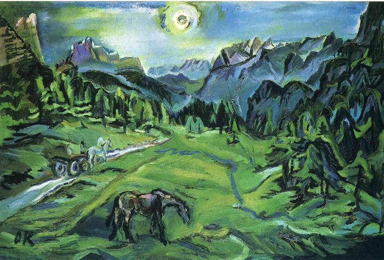 Dolomite Landscape: Tre Croci, 1913 - Oskar Kokoschka
