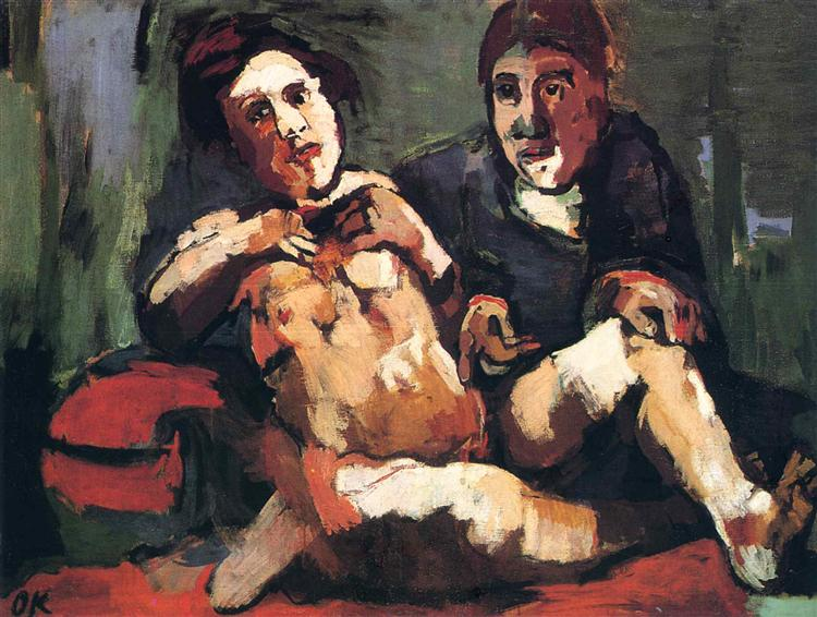 Self-Portrait with Doll, 1921 - Oskar Kokoschka