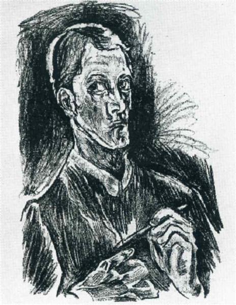 Self-Portrait (bust with pen), 1914 - Oskar Kokoschka