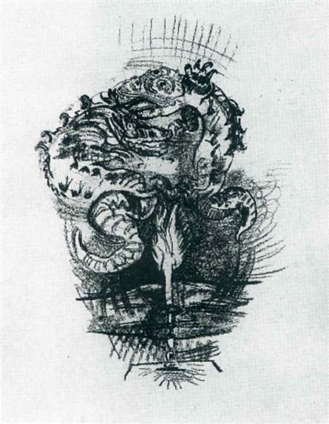 Dragons over a Flame, 1914 - Oskar Kokoschka