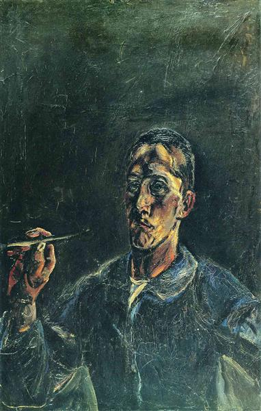 Self-portrait with a brush up, 1913 - Oskar Kokoschka