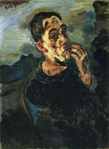 Self-Portrait with Hand by his face. - Oskar Kokoschka
