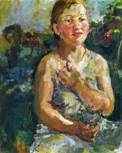 A Girl with Flowers, 1930 - Oskar Kokoschka