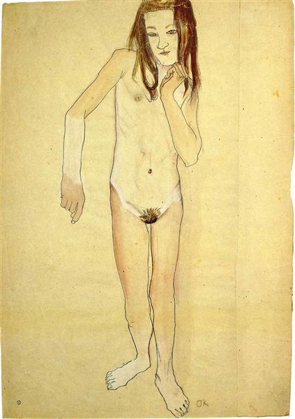 Nude Girl Standing, 1907 - Oskar Kokoschka