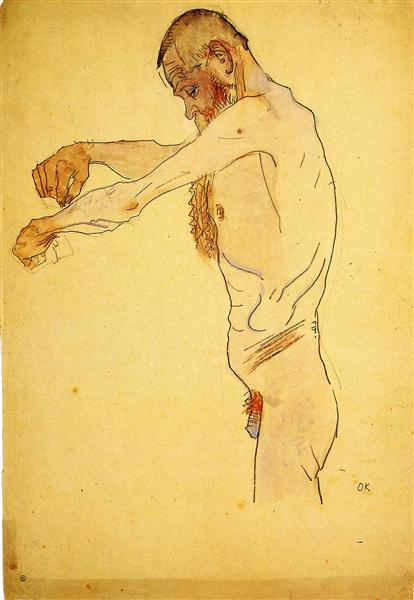 Standing Nude Old Man, 1907 - Oskar Kokoschka