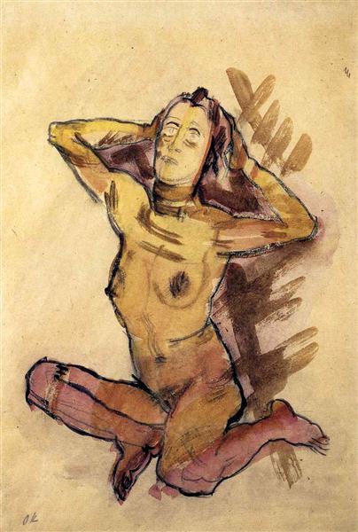 Female nude seated on the ground, 1913 - Oskar Kokoschka
