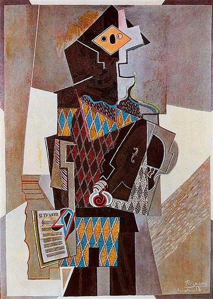 Harlequin with violin, 1918 - Pablo Picasso