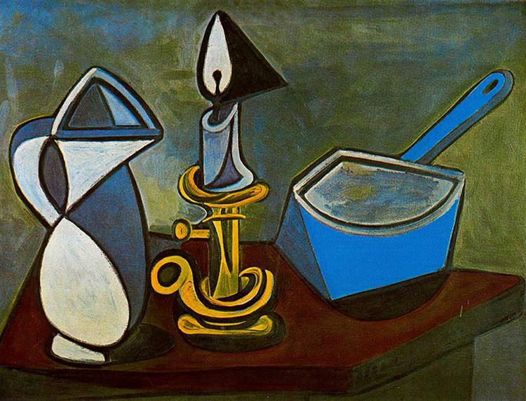 Jug, candle and enamel pan, 1945 - Pablo Picasso
