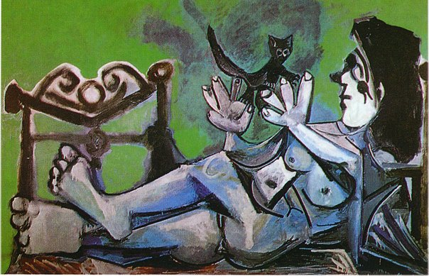 Lying female nude with cat, 1964 - Pablo Picasso