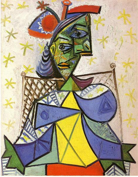 Seated woman with blue and red hat, 1939 - Pablo Picasso