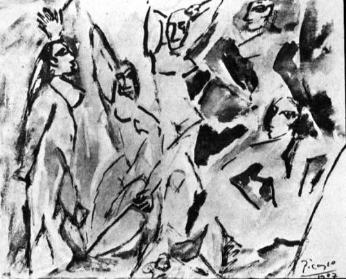 The girls of Avignon (study), 1907 - Pablo Picasso