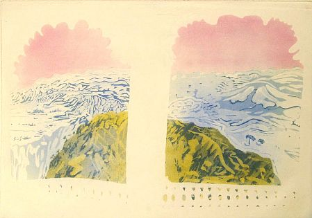 Mount Abu (Rowli Mountains, Rajastan) from the 'India , Mother' suite of 7 aquatints, 1970 - Patrick Procktor