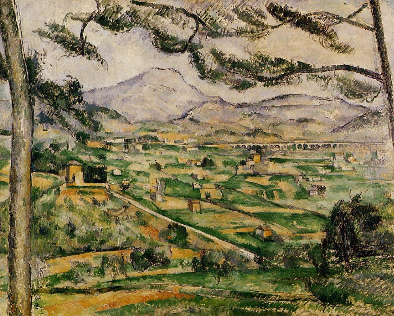 mont sainte victoire with large pine paul cezanne wikiart org encyclopedia of visual arts