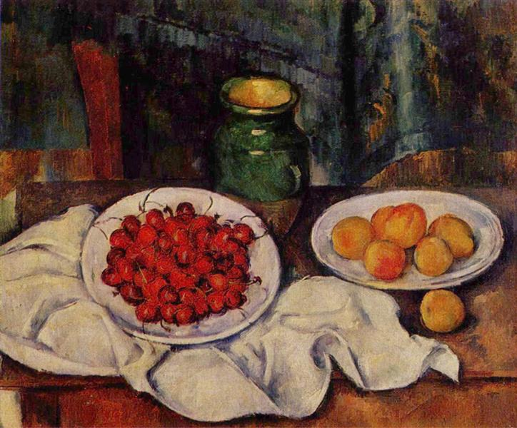 Still Life with a Plate of Cherries - Paul Cezanne