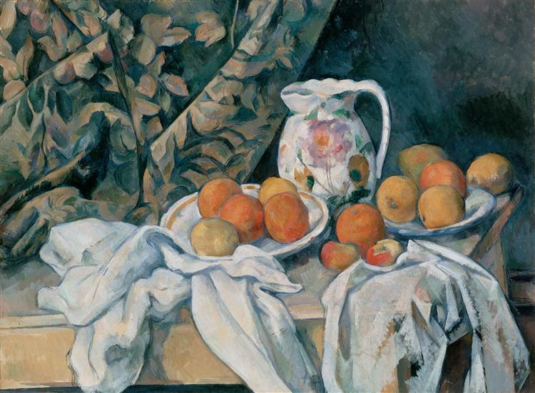 Still Life with Curtain and Flowered Pitcher, 1895 - 塞尚