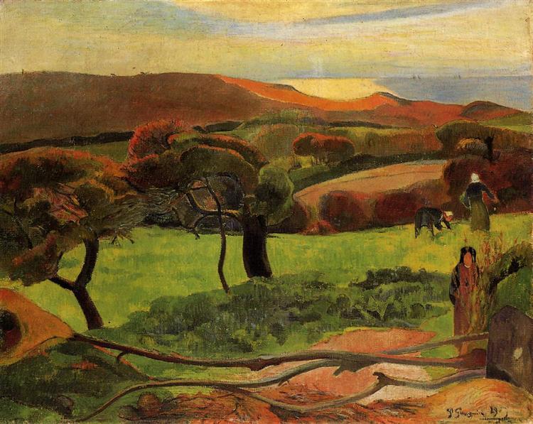 Breton Landscape - Fields by the Sea (Le Pouldu), 1889 - Paul Gauguin
