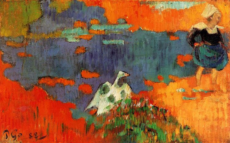 Breton Woman and Goose by the Water, 1888 - Paul Gauguin