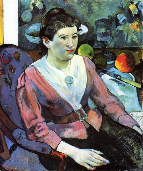 Portrait of woman against the Cezanne's still life with apples, 1890 - Paul Gauguin