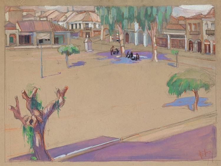 The square of Sparta, 1933 - Periklis Vyzantios