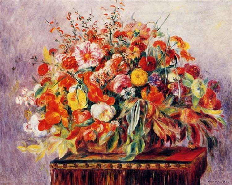 basket of flowers 1890 pierre auguste renoir wikiart org