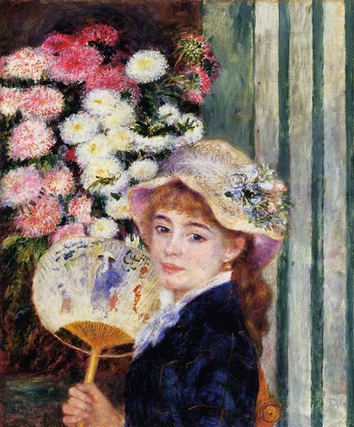 Girl with Fan - Pierre-Auguste Renoir