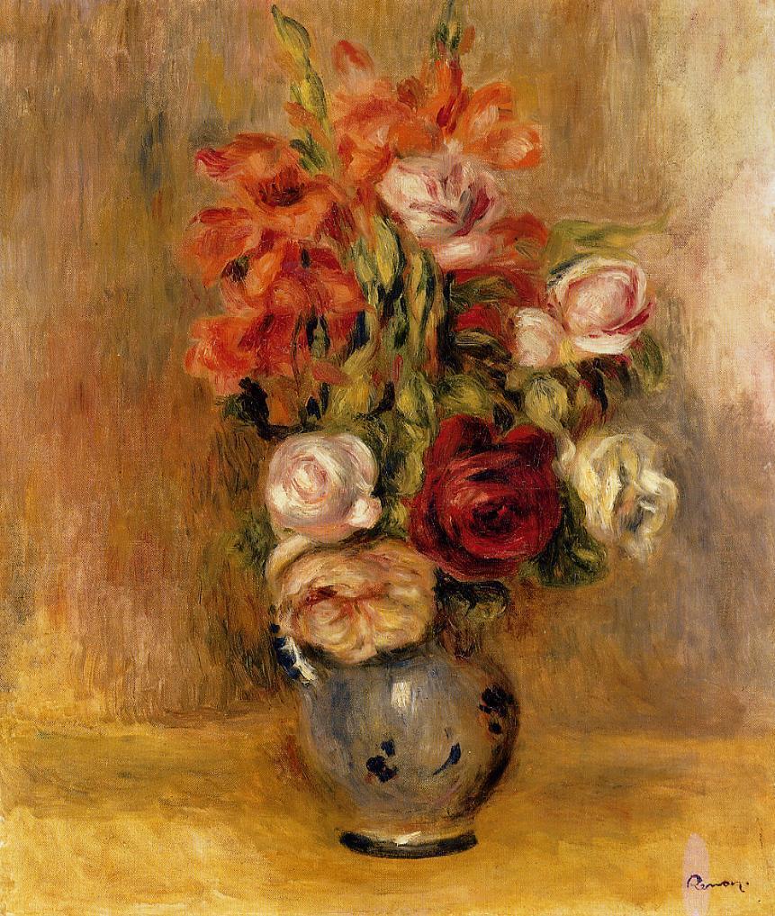 Vase of gladiolas and roses 1909 pierre auguste renoir - Vase en pierre jardin ...