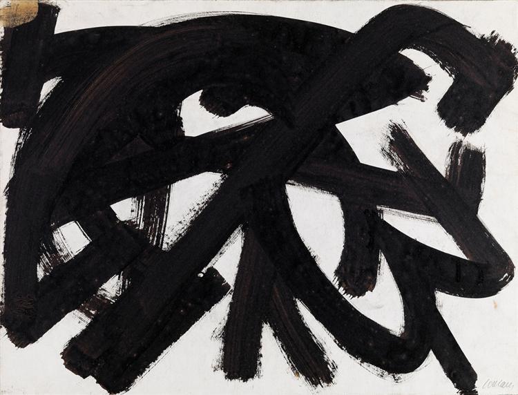 Brou de noix sur papier 48 x 62,5 cm, 1946, 1946 - Pierre Soulages