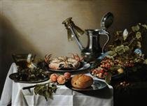 Still Life. Food, Glasses and a Jug on a Table - Pieter Claesz