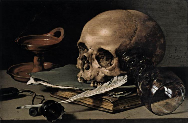 Nature morte au crâne et à la plume, 1628 - Pieter Claesz - WikiArt.org
