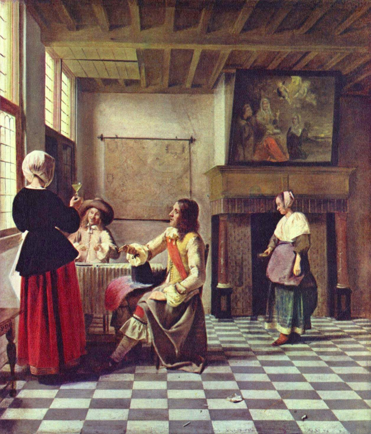 A woman drinking with two men pieter de hooch wikiart for Biographie de vermeer