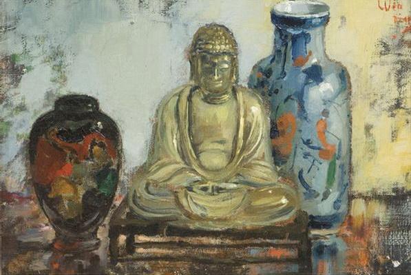 Buddha with two vases - Pieter Wenning