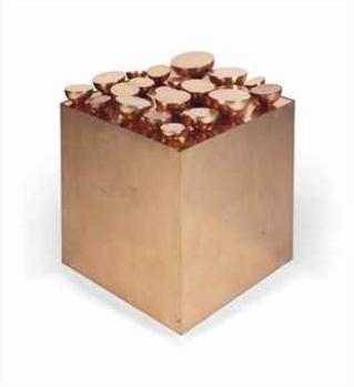 21 demi-sphères sur un cube - Pol Bury