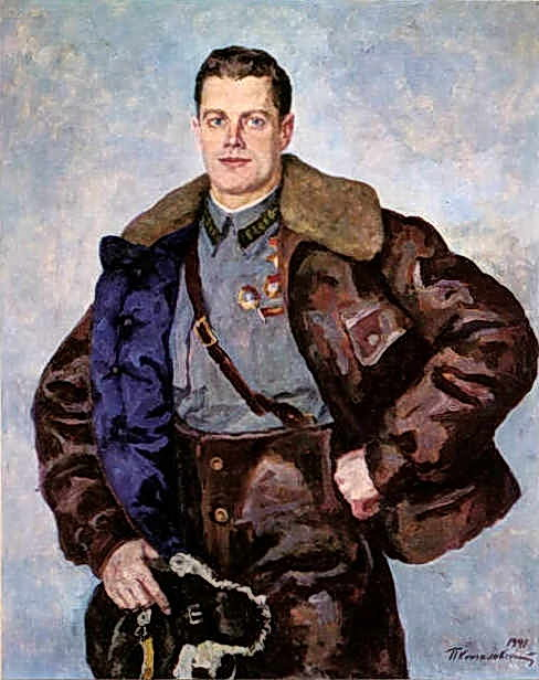 Portrait of a Hero of the Soviet Union, Pilot A. B. Yumashev, 1941